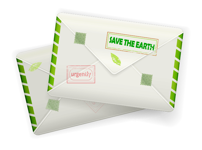 Mail envelope with 'Save the Earth' stamp